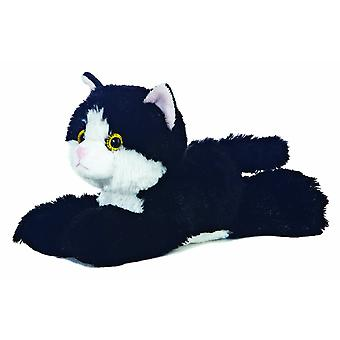 Aurora 8-tommers Flopsie katt (svart/hvitt)