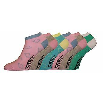 Ladies UMBRO TRAINER SPORT SOCKS Pastel Diamond 3pk 4-7