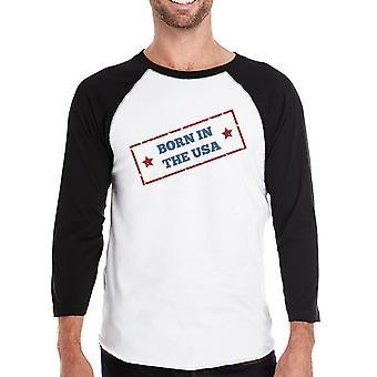 Urodzony w USA męskie Black Baseball Tshirt 3/4 rękaw Graphic Tee