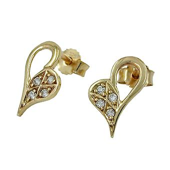Heart Earrings gold 375 gold earrings, heart shape 4 x cubic zirconia 9 KT GOLD