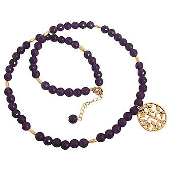 Ladies necklace gold plated Amethyst tree of life violet purple gold vermeil