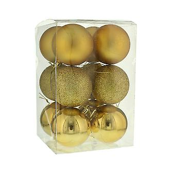 12 Gold Shatterproof Baubles - Christmas Decorations - 6cm