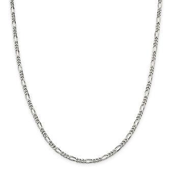 Sterling sølv Solid polert hummer Claw nedleggelse 4mm Figaro kjeden Anklet - 9 tommer - hummer klo