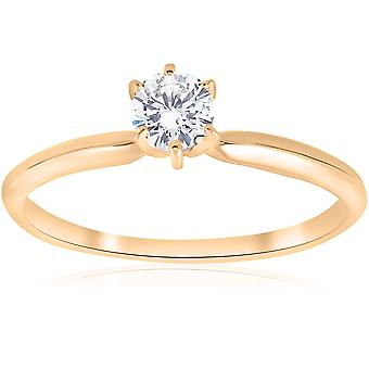Gold 1/5ct Round Solitaire Diamond Engagement Ring