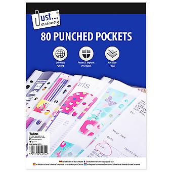 Just Stationery A4 Clear Plastic Punched Pockets (Pack Of 80)