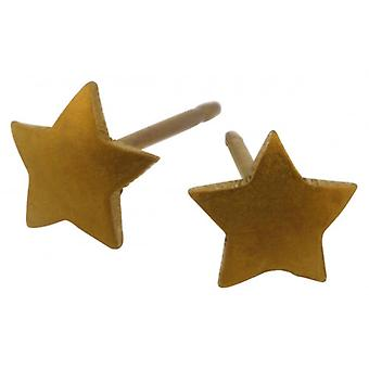 Ti2 Titanium Geometric Star Stud Earrings - Tan Beige