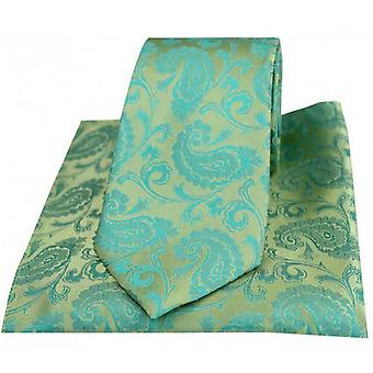 David Van Hagen Paisley Woven Tie and Pocket Square Set - Jade Green