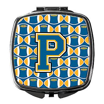 Carolines Treasures  CJ1077-PSCM Letter P Football Blue and Gold Compact Mirror