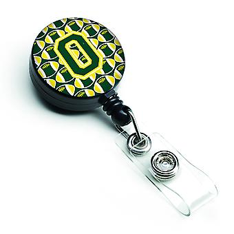 Letter O Football Green and Yellow Retractable Badge Reel