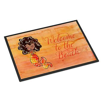 Mermaid Welcome Orange Indoor or Outdoor Mat 18x27