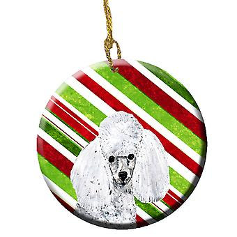 White Toy Poodle Candy Cane Christmas Ceramic Ornament