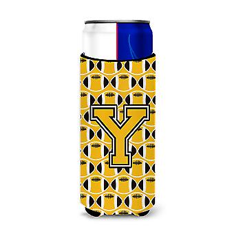 Letter Y Football Black, Old Gold and White Ultra Beverage Insulators for slim c