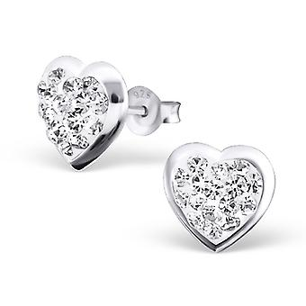 Pink heart - 925 Sterling Silver Crystal Ear Studs