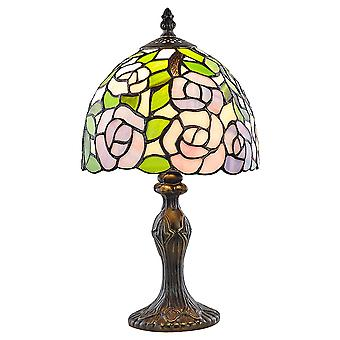 Beautiful Pink and Green Floral Stained Glass Dragonfly Tiffany Lamp