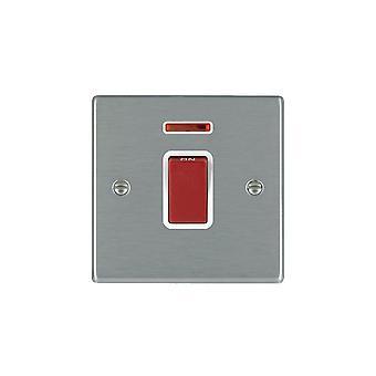 Hamilton Litestat Hartland Satin Stainless 1g 45A Double Pole + Neon Red Rocker/WH