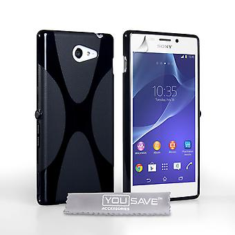 Yousave Accessories Sony Xperia M2 Silicone Gel X-Line Case - Black