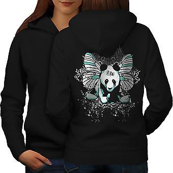 Panda motyl tyłu BlackHoodie kobiet   Wellcoda
