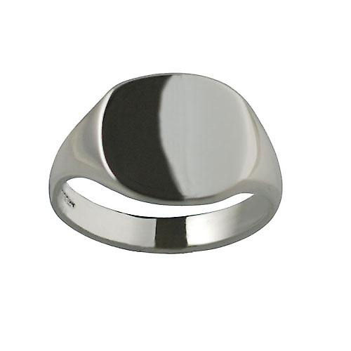 Silver 15x16mm plain solid cushion Signet Ring Size V