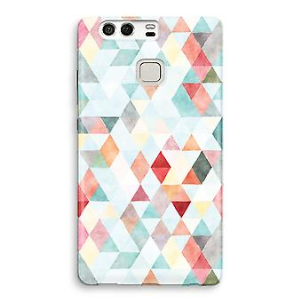 Huawei P9 fuld udskrive sag - farvede trekanter pastel