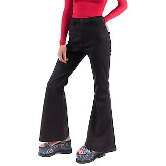 70s Style Scuba Suede Bell-Bottoms Wide Retro Flares - Black