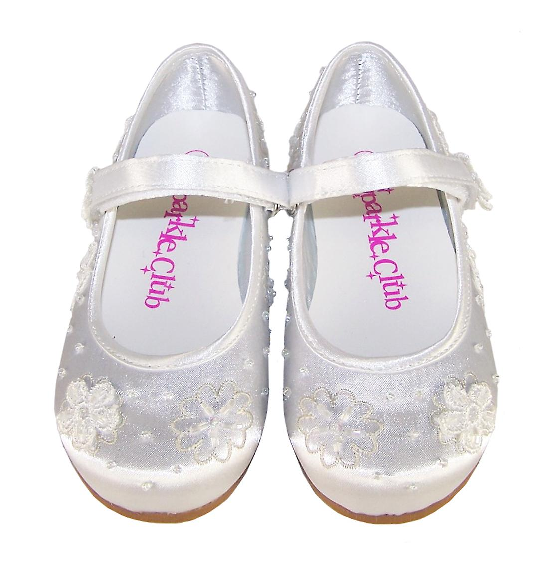 Girls white satin flower girl and occasion ballerina shoes shoes shoes 0b5233