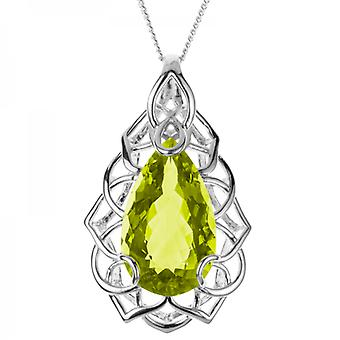 Shipton and Co Ladies Shipton And Co Exclusive Silver And 30x18mm Pearshape Green Quartz Pendant Including A Chain PQA351GQ