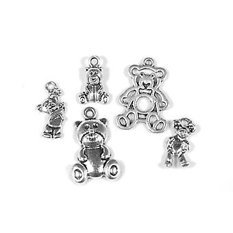 Packet 5 x Antique Silver Tibetan 16-27mm Bear Charm/Pendant Set ZX16635
