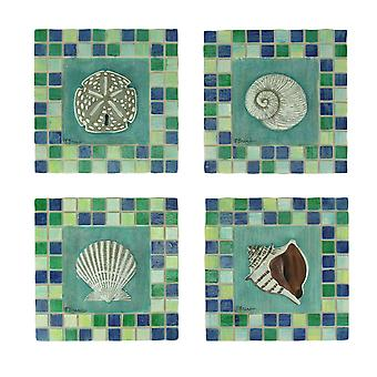 Green and Blue Mosaic Seashell Tile Coastal Wall Decor Set of 4