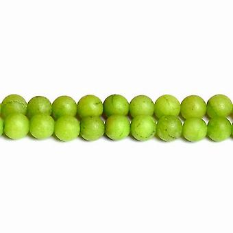 Strand 32+ Lime Green Malaysian Jade 10mm Frosted Plain Round Beads CB50293-3