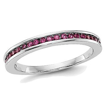 Natural Ruby Semi-Eternity Wedding Band Ring 1/3 Carat (ctw) in 14K White Gold