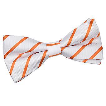 White & Orange Single Stripe Pre-Tied Bow Tie