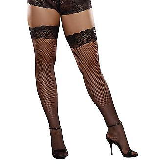 Plus Size Hosiery Lingerie Stay Up Back Seam Fishnet Thigh High