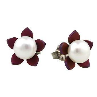Ti2 Titanium Large Flower and Pearl Stud Earrings - Mulberry Brown