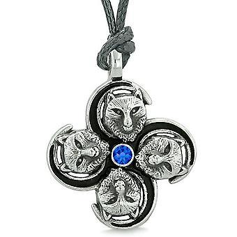 Übernatürliche Wolf Mut Kräfte Kräfte der Natur Amulett Königsblau Kristall Anhänger Halskette