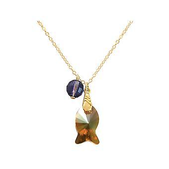 Gemshine - dames - halsketting - HANGERS - VERGULD - vis - oranje - golden brown - violet - MADE WITH SWAROVSKI ELEMENTS® - 45 cm