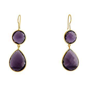 Gemshine - viola - CANDY - Ametista - oro placcato argento 925 ladies - Orecchini - - goccia - 6cm