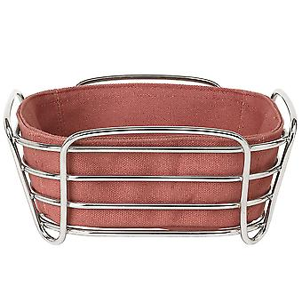 Bread basket small steel wire chrome cotton insert Withered Rose