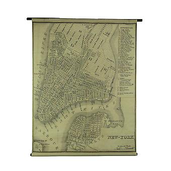 Vintage New York Map Canvas Print Wall Hanging