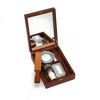 Historiska rakning-box för rak rasors med mini-stropp, razor slipning klistra in, Rakborste, rakning skålen, tvål, alun block direkt från Frankrike