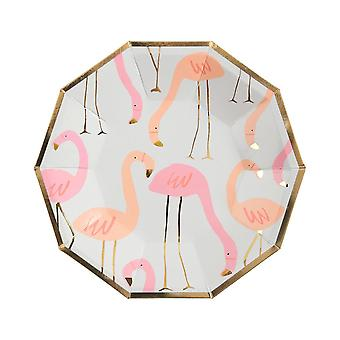 Small Flamingo Paper Party Plates x 8