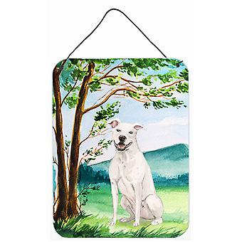 Under the Tree White Staffie Bull Terrier Wall or Door Hanging Prints