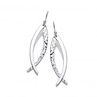 Cavendish French Polished and Hammered Silver Sabre Drop Earrings