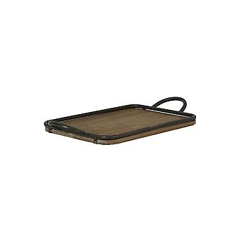 Light & Living Decorative Antique Wooden Serving Tray With Handles