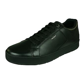 Geox U Ariam D Mens Leather Trainers / Shoes - Black