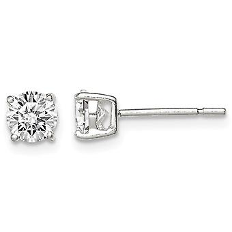 Synthetic Cubic Zirconia (CZ) Solitaire Stud Earrings 1.00 Carat (ctw) in Sterling Silver
