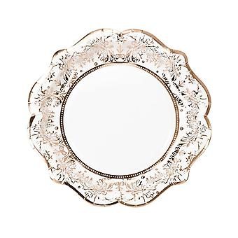 Vintage Style Rose Gold Paper Party Plates x 12