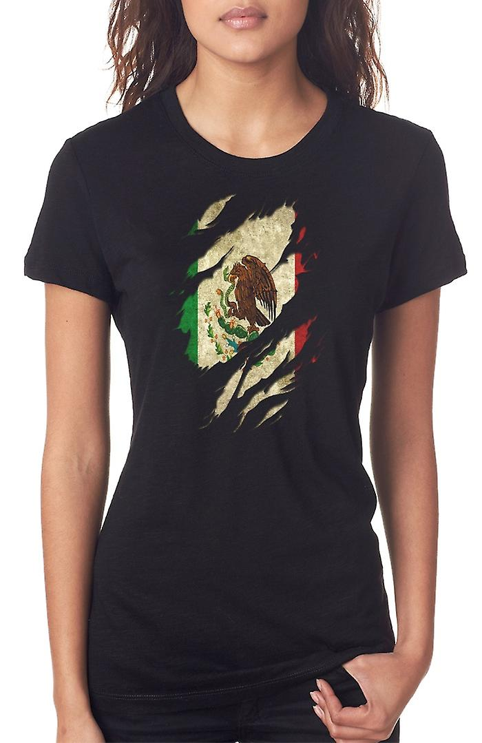 Mexican Grunge Flag Ripped Effect Ladies T Shirt