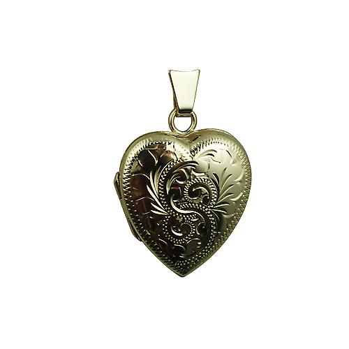9ct Gold 21x19mm hand engraved heart Locket