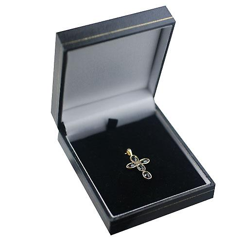 9ct Gold 25x16mm Cross set with 5 Dark Sapphires and 1 Pearl