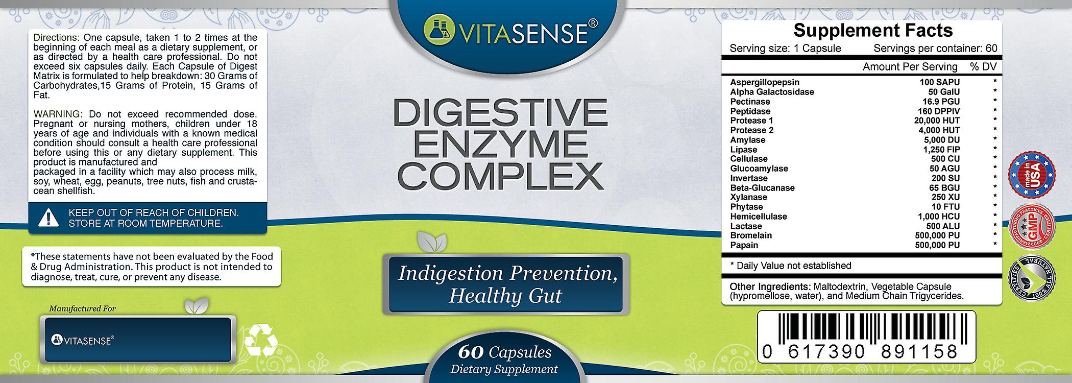 VitaSense Digestive Enzyme Complex - Indigestion Prevention Healthy Gut - 60 Capsules